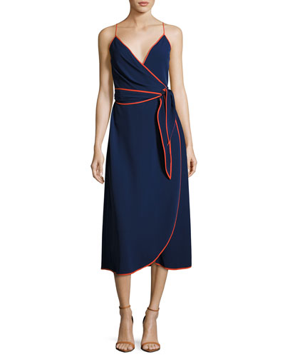 Grotto Contrast-Trim Wrap Slip Dress, Navy