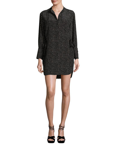 Long-Sleeve Polka-Dot Shift Dress, Black/Natural