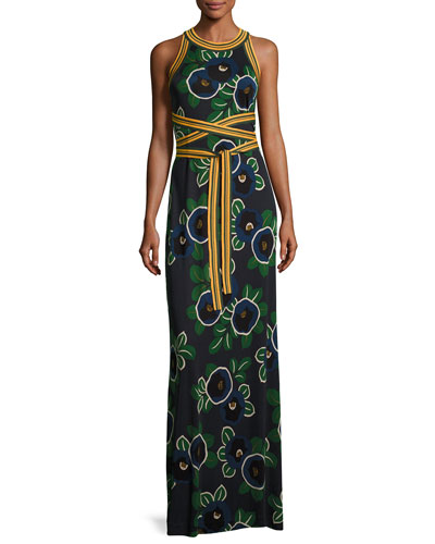 Kelso Sleeveless Floral Maxi Dress w/ Striped Tie