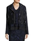 Embroidered Jacquard Moto Jacket, Blue