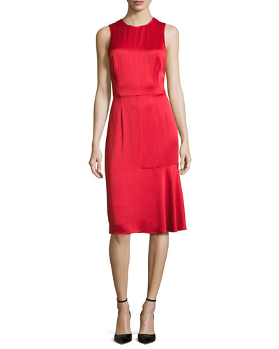 Sleeveless Crisscross-Back Satin Cocktail Dress, Red
