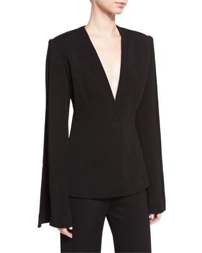 Mock-Neck Open-Back Silk Organza Gown, Black