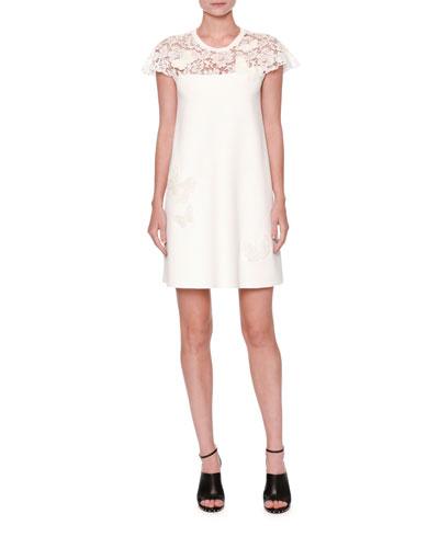 Butterfly Lace-Yoke Cap-Sleeve Dress