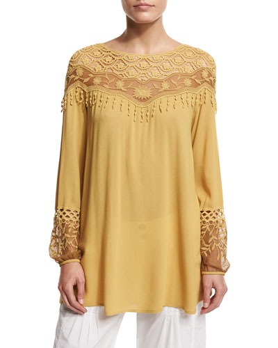 Jaci Crochet-Detail Crepe Top, Mustard, Plus Size