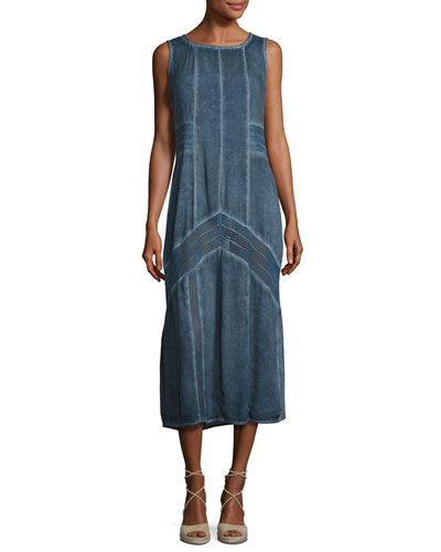 Long Paneled Denim Tank Dress, Blue, Plus Size