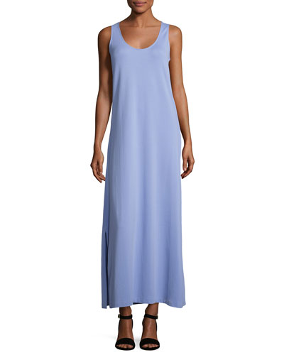 Pique Knit Long Tank Dress, Lavender, Petite