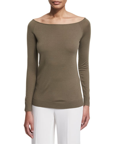 Ebliss Refine Wool Wide-Neck Sweater