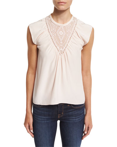 Sleeveless Silk Southwestern Top, Pale Blush