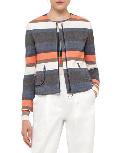 Striped Zip-Front Short Jacket, Orange Pattern