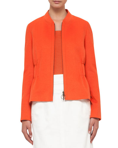 Gathered-Waist Zip-Front Jacket, Peach