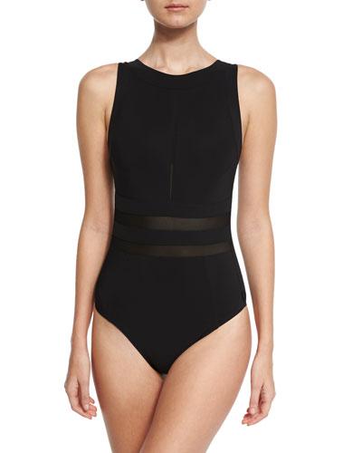 Mesh-Insert High-Neck One-Piece Swimsuit, Black