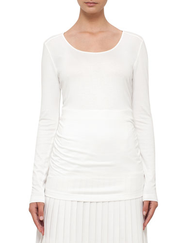 Ruched Long-Sleeve Tee, Cream