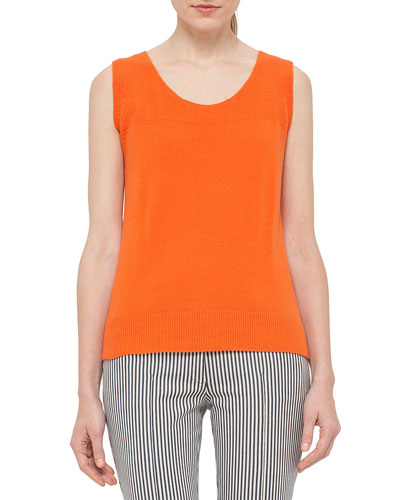 Scoop-Neck High-Low Knit Tank, Peach