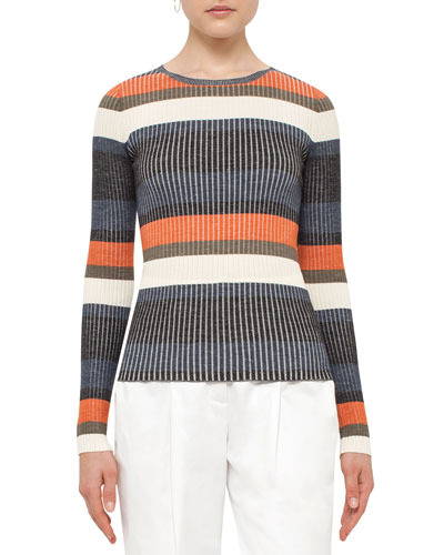 Striped Long-Sleeve Wool Sweater, Orange Pattern