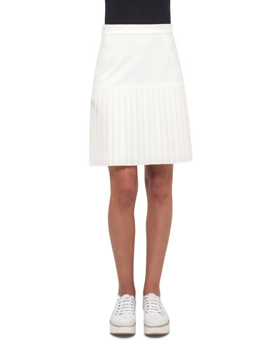 Pleated Jersey Skirt, Cream