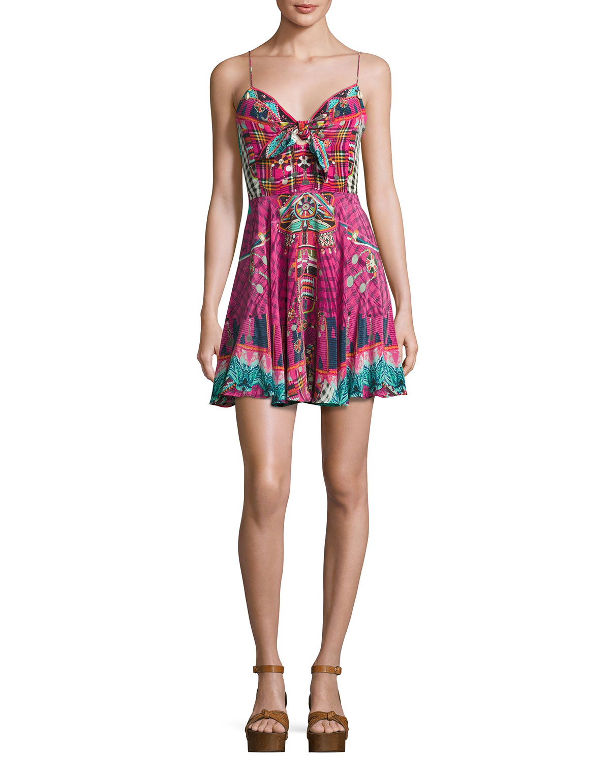 Embellished Tie-Front Sleeveless Coverup Dress, Desert Discotheque