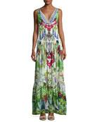 Tiered Sleeveless Silk Maxi Dress, Exotic Hypnotic