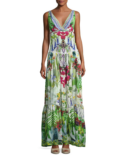 Tiered Sleeveless Silk Maxi Dress, Exotic Hypnotic