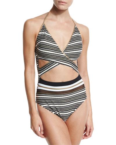 Regatta Metallic-Stripe Cutout Swimsuit, Black/White
