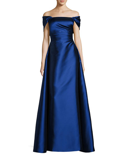 Strapless Satin Gown with Shrug