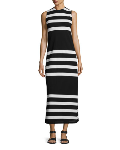 Kerrick Striped Sleeveless Maxi Dress, Black/White