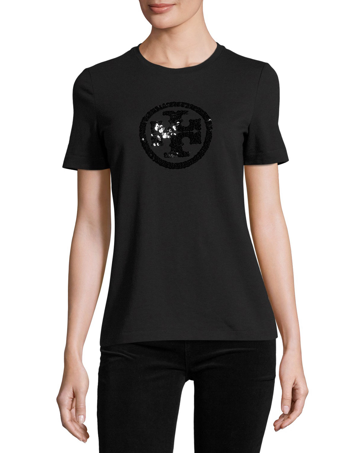 Sequin-Logo Crewneck Tee, Black