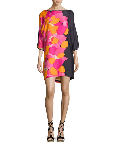 Floral 3/4-Sleeve Shift Dress, Dark Purple