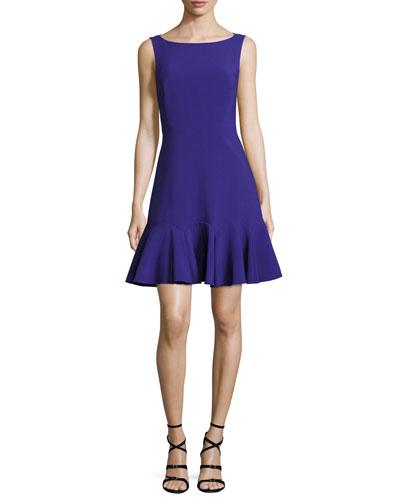 crepe sleeveless flounce dress, night blue
