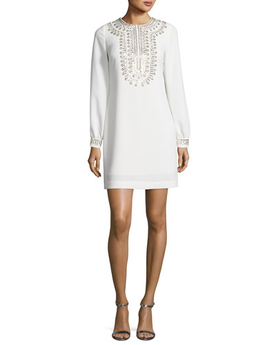 Embroidered Crepe Shift Dress, Whitewash