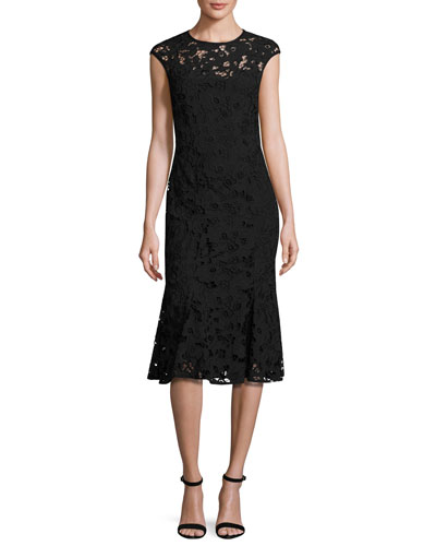 Cap-Sleeve Floral Lace Fit-and-Flare Midi Dress, Jet
