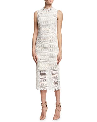 Mirian Sleeveless Structured Lace Midi Dress, Ivory