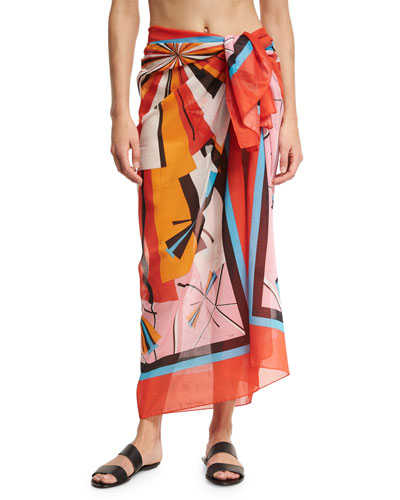 Parasol Voile Pareo Coverup, Pink/Orange