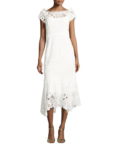 Cap-Sleeve Lace Illusion Midi Dress, Ivory