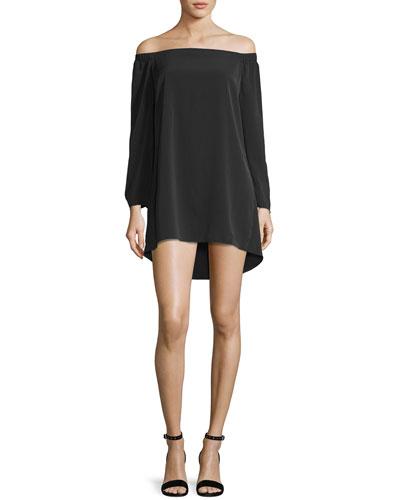 Desiree Off-the-Shoulder Crepe Shift Dress, Black