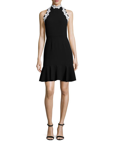 York Sleeveless Crepe Fit-and-Flare Flounce Dress, Black