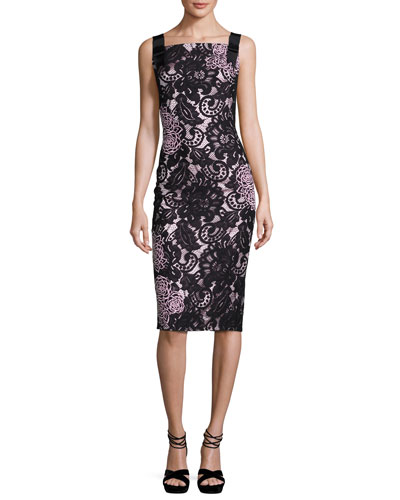 Sleeveless Square-Neck Lace Sheath Dress, Black/Pink