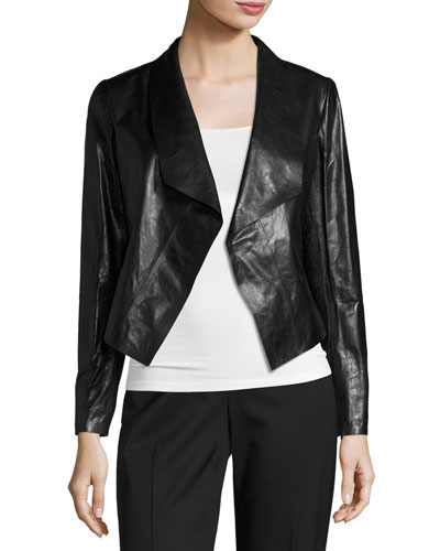 Leah Glazed Lambskin Cropped Jacket, Black