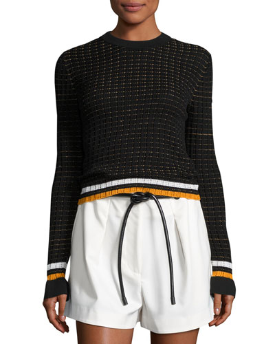 Cotton Crochet Pullover Sweater, Black
