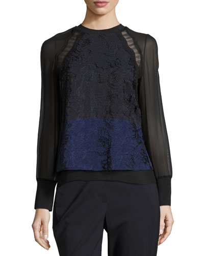 Long-Sleeve Colorblock Lace & Chiffon Top, Medium Blue