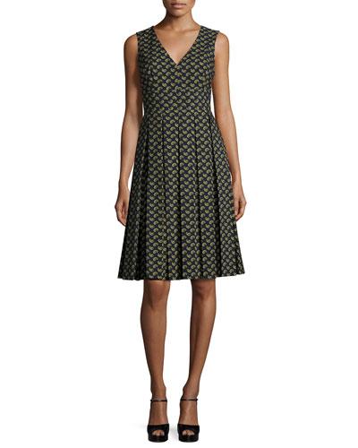 Sleeveless Paisley Fit-&-Flare Dress, Navy/Peridot/Multi