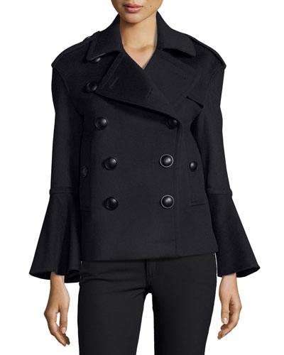 Townhill Double-Breasted Flare-Sleeve Pea Coat, Navy