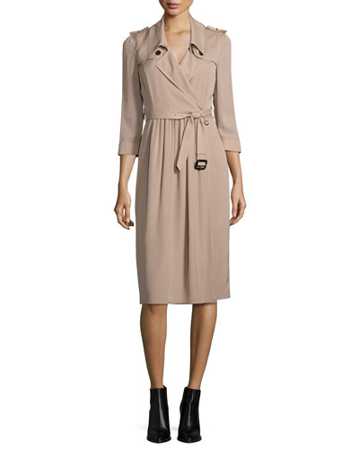 Agatha Iconic Silk Wrap Trench Dress, Beige
