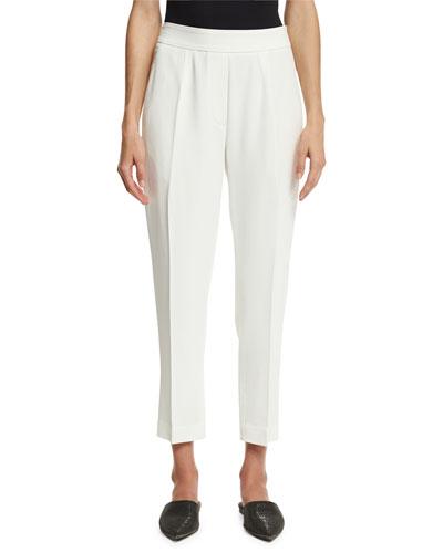 Cropped Crepe Side-Zip Pants