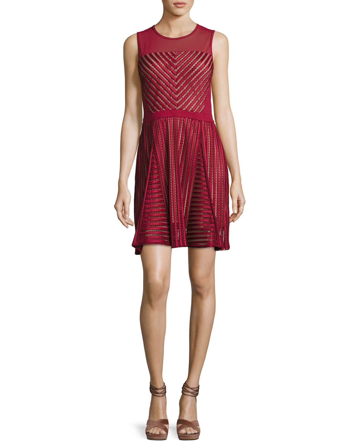 Fast Score Striped-Lace Dress, Red