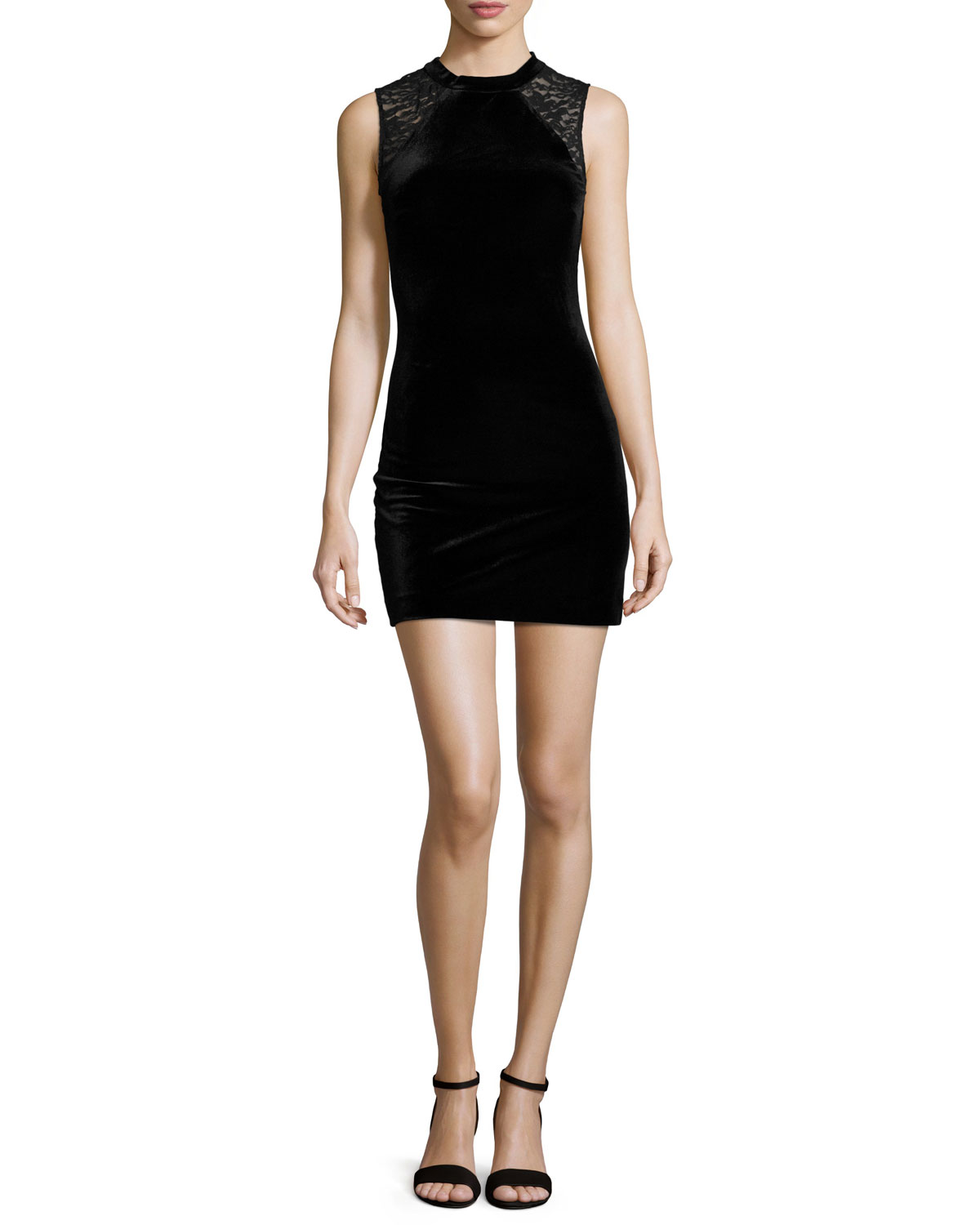 Viven Velvet Dress w/Lace Trim, Black
