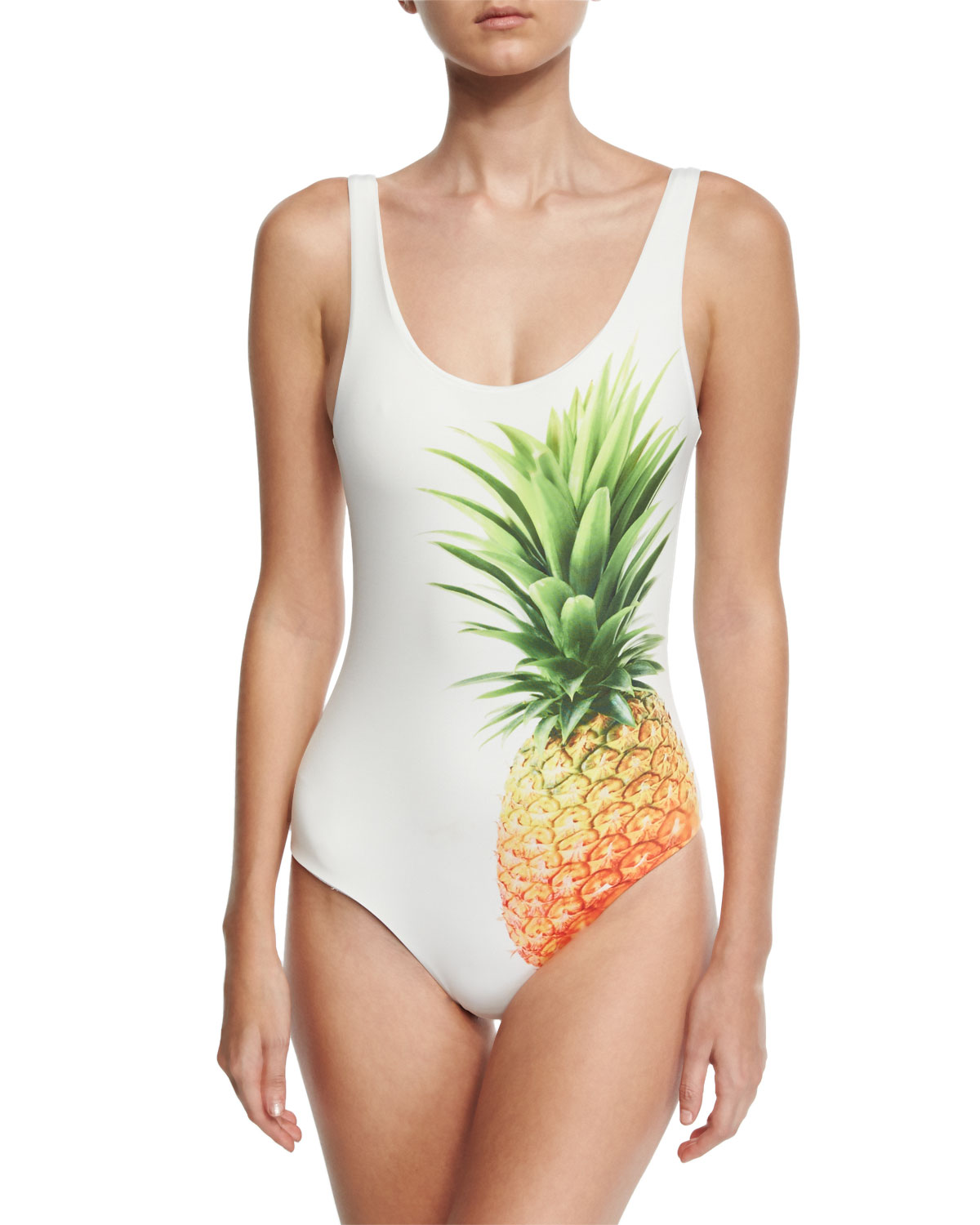Kelly Pineapple-Print One-Piece Swimsuit, White