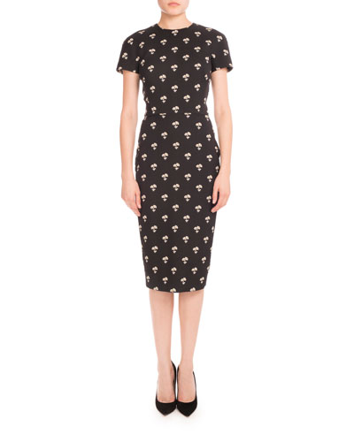 Short-Sleeve Daisy Jacquard Dress, Black Pattern