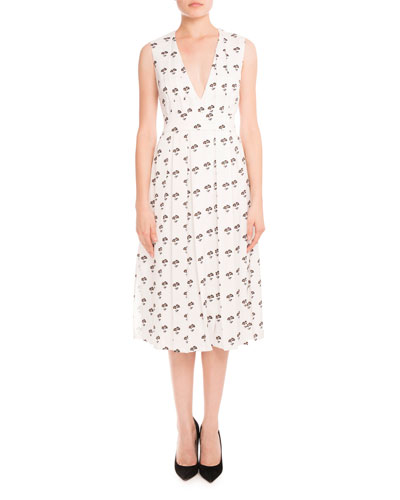 Sleeveless Pleated Daisy-Print Midi Dress, Multi