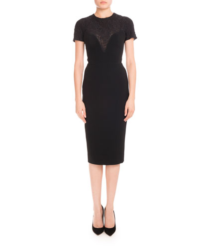 Short-Sleeve Lace-Yoke Dress, Black