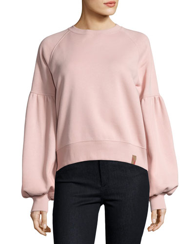Bell-Sleeve Sweatshirt, Pink